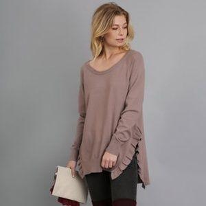 NWT Toffe/Mocha Umgee Ruffled Sweater